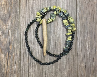 Yellow Turquoise and Green Serpentine Deer Antler Tine Necklace