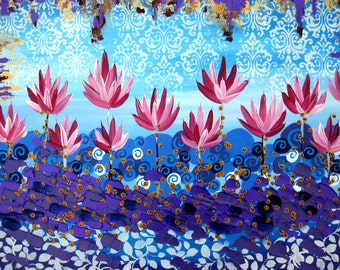 "lotus painting, painting of lotuses, lotus art, lotus gift, yoga gift, pilates, gift, painting for studio, for wall, wall art, 30"" x 24"""