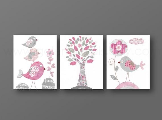Baby-rosa und grau Kindergarten Wandkunst Kinderzimmer