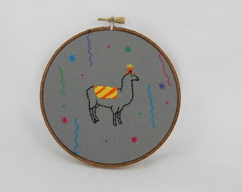 Party Llama Embroidered Hoop Art