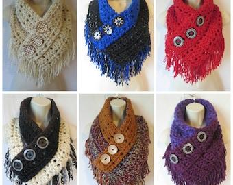Crochet fringe triangle cowl scarf pattern PDF instant download present gift craft shows neck warmer MI designer