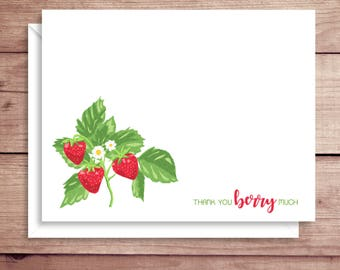 Strawberry Note Cards - Berry Note Cards - Folded Note Cards - Personalized Stationery - Thank You Notes - Illustrated Note Cards