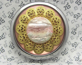 Compact mirror with protective pouch - Sunset - cute gift for friend - pink compact mirror - retro pocket mirror for bridesmaids