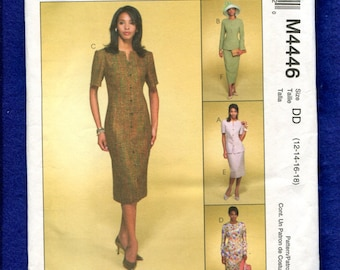 McCall's 4446 Stylish Front Button Dress Jacket & Skirt for the Perfect Mother of the Bride Size 12 to 18 UNCUT