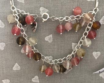 Silver chain beaded bracelet