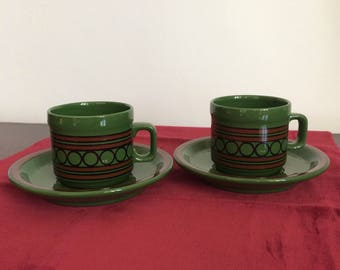 Set of 2 vintage 70s retro pattern green coffee cups and saucers sacavem Portugal