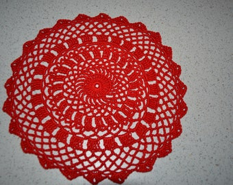 Handmade red doily, 19cm, round crocheted with fine cotton