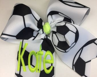 Any Name, Soccer Bow, Girls Hair Bows, Gift Idea, Team Party, Jersey Monogram, Neon Ribbon, Clip pony tail, customized, Embroidery, Teen
