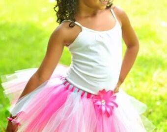 Hot Pink, Soft Pink, Aqua Tutu with Matching Flower Clip