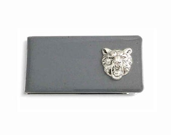 Tiger Head Money Clip Inlaid in Hand Painted Gray Opaque Glossy Enamel Safari Inspired with Personalized and Color Options