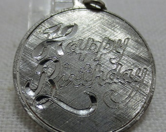 HAPPY BIRTHDAY Flat Sterling Silver Disc Charm or Pendant