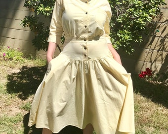 80s pale yellow cotton mod structured dress