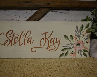 Personalized Name Sign | Nursery Decor | Floral | Custom Color Option | Hand Painted