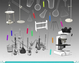 Science Clipart, Chemistry Lab Clip Art, Laboratory Graphic, Scientist Image, Test Tube PNG, Beaker Scrapbook, Microscope Digital Download
