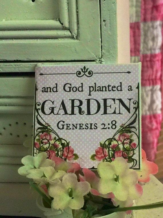 "God planted a Garden  Scripture art-2"" x 2"" canvas"