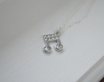 Musical Note necklace - Music - Sterling silver or Silver Tone chain - Gift ideas under 20