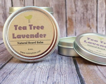 Tea Tree Beard Balm, Lavender Beard Balm, Mustache Wax, Beard Care, Facial Hair Grooming, Beard Conditioner, Natural Body Care, Gift for Him