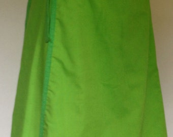 1970's  Reversible Cotton A-Line Wrap Skirt / Harlequin Green/ Frogs