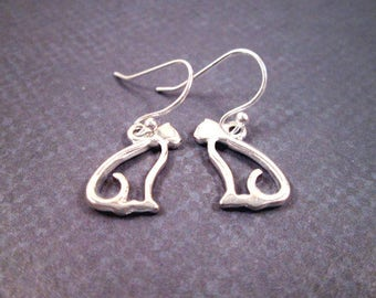 Cat Earrings, On Little Cat Feet, Sterling Silver Dangle Earrings, FREE Shipping U.S.