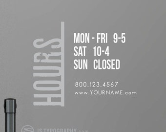 Custom store hours, Store hours decals, Hours of operation decals, Business hours decals, Personalized store hours, Custom decals, Decals