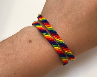 Set of two Rainbow bracelets Friendship bracelets for couple LGBT gay Pride bracelet set Handmade One love Same love Love is love