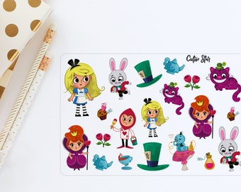 Alice in Wonderland Stickers   TN stickers Scrapbook