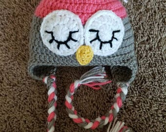 crochet pink and grey baby girl owl hat, crochet toddler owl hat, crochet owl hat, pink owl hat, grey owl hat, handmade owl hat.