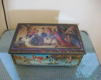Antique pictorial tin with lock