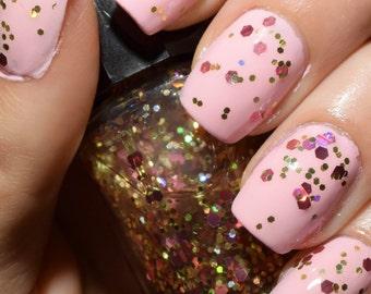 """SALE!! Nail Polish - """"Rosy Gold""""// Gold Glitter Polish// Pink Glitter Polish// Holographic Glitter//"""