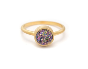 Peacock Druzy Quartz Ring - 18k Gold Vermeil - Bezel Set - Round - Available in sizes 4.5, 5, 5.5, 6, 6.5, 7, 7.5, 8, 8.5, 9, 9.5 and 10