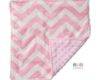 Pink Chevron Minky Newborn Baby Lovey Blanket, Custom Made, Newborn Gift , Baby Gift, Security Blanket, Stroller, Travel Blanket
