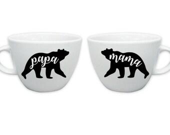 Mama Bear, Papa Bear, Mama Bear Papa Bear Coffee Mug Set, Coffee Mug, Personalized Mug, Custom Coffee Mug, Mug, Funny Mug
