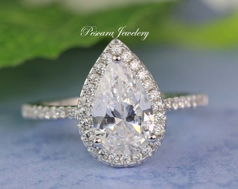 Pear Cut Halo Ring - Pear Cut Ring - Promise Ring - Wedding Ring - Pear Shaped Ring - CZ Diamond Stimulant - 2.6ct tw - Sterling Silver