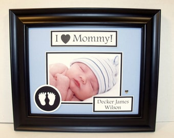 I Love Mom - I Love Mommy - Baby Ultrasound Sonogram Frame - Baby Shower Gift - Personalized Frame - 8x10 Deluxe Frame Included -Any Message