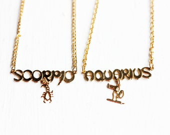 Astrology Necklace Gold, Zodiac Necklace, Astrology Necklace, Gold Astrology Necklace, Astrology Charm Necklace, More Signs Available