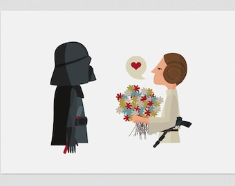 Illustration, Print, Happy Father's Day-Leia, Star Wars, Tutticonfetti, Wall art, Art decor, Hanging wall, Printed art, Home Gift idea, Home