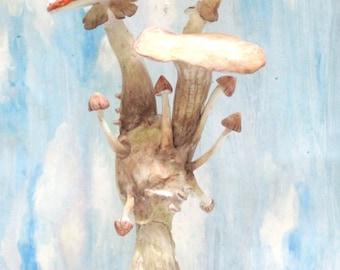 Floating mushroom 2 light weight clay sculpture