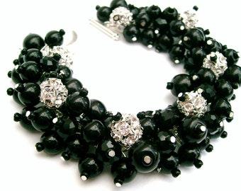 Black Pearl and Rhinestone Bracelet, Bridal Jewelry, Wedding, Pearl Bridesmaid Bracelet, Cluster Bracelet, Black Pearl Jewelry