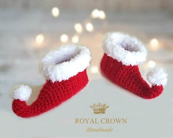 Baby Elf Slippers, Newborn Elf Shoes, Red Elf Shoes, Baby Elf Booties, Christmas Shoes,  Newborn Elf Booties, Infant Elf shoes
