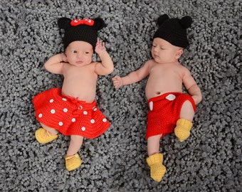 Handmade Crochet Mickey / Minnie Mouse inspired outfit set (hat short or skirt mittens and booties) size 0-3 months  sc 1 st  Etsy & Crochet Mickey Mouse outfit set in PDF Pattern Mickey Mouse