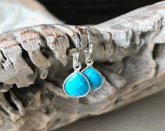 Small Silver Turquoise Teardrop Earrings