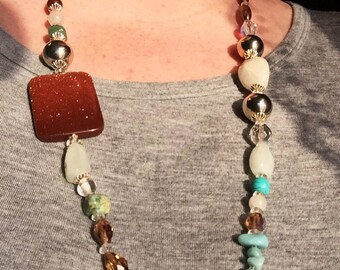 Goldstone and Semi-precious stone Asymmetrical Necklace