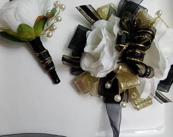 Black Gold and White Prom Corsage with Matching Boutonniere Ready To SHIP Artificial Flowers On Sale Corsage and Boutonniere Set ON SALE