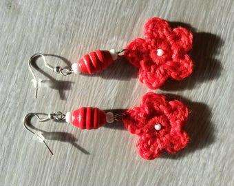 Handmade / red floral earrings / romantic