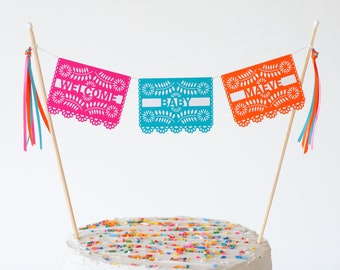 Fiesta Baby Shower Cake Topper - Mexican Baby Shower - Baby Shower Fiesta - Mexican Fiesta Decorations - Baby Shower Papel Picado