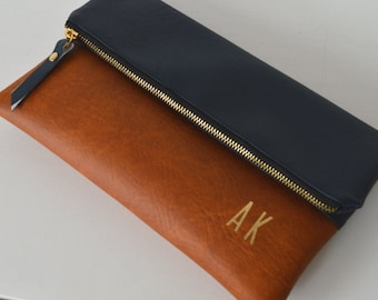 Navy/Brown Foldover Monogram Clutch Purse, Wedding Clutch Bag, Handbag for Bridesmaids, Wedding Accessory