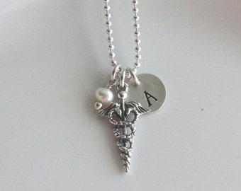 Personalized Caduceus Necklace, Custom Medical Profession Necklace, Medical Profession Graduation Gift, Medical Profession Jewelry