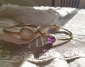 Amethyst Bangle // Crystal Bangle Bracelet