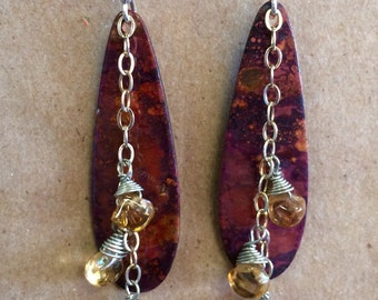 Finished Copper Teardrop with Citrine Earrings