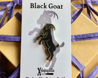 Black Goat enamel artist lapel pin Nickel-free shiny silver finish